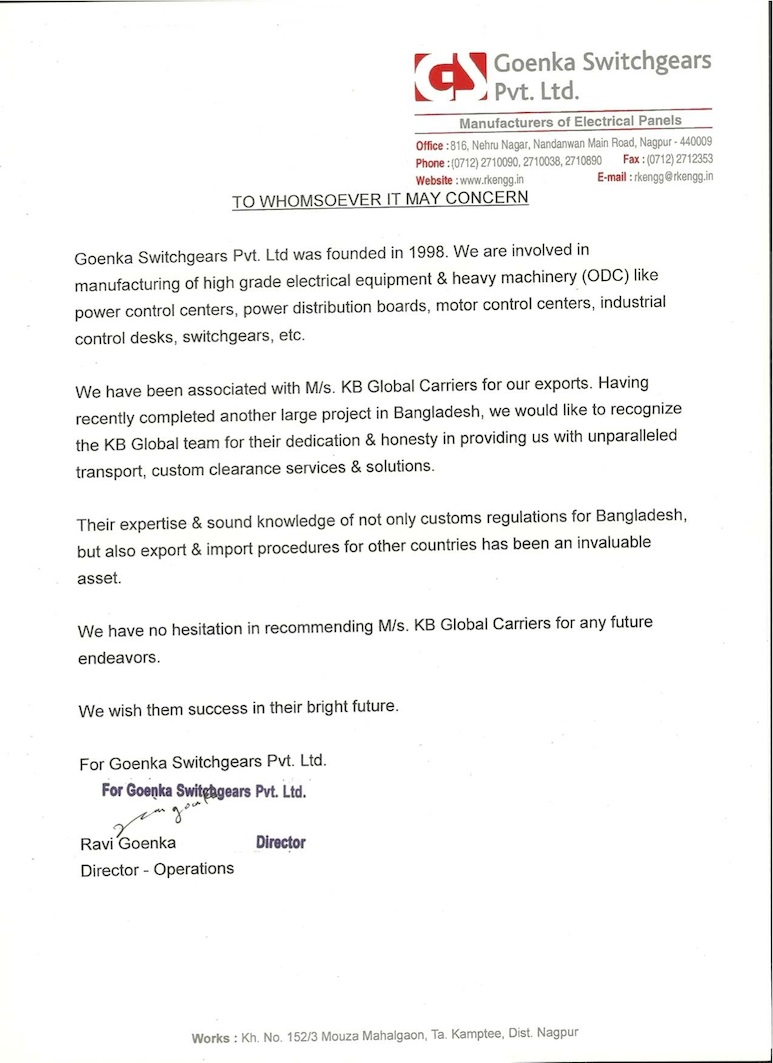 Goenka Switchgears Pvt Ltd testimonial